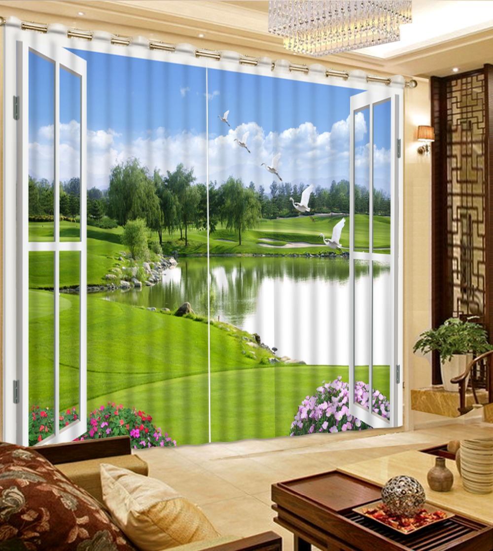 Green bedroom curtains - Modern Printed Window Curtain Decoration Green Fresh Park Pond Home Decoration Living Room Curtain Cafe Hotel