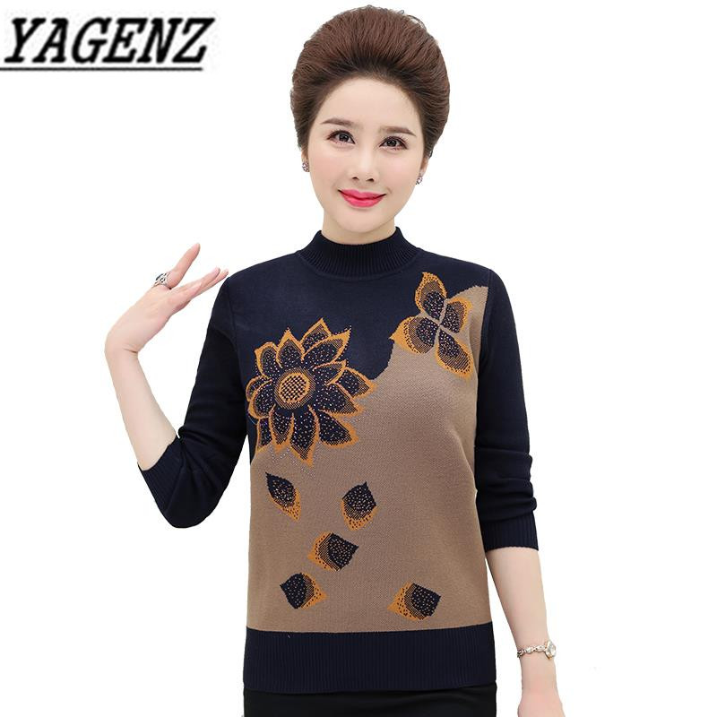 Turtleneck Sweater Pullover Knitwear Loose-Print Middle-Aged Winter Casual Top Big-Size