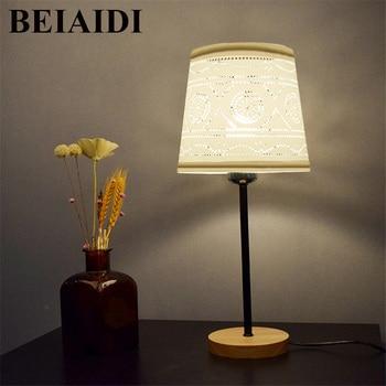 BEIAIDI E27 Lamp Nordic Korte Houten tafellamp Slaapkamer Houten Bedlampje Stof Lampenkap Indoor Lezen Verlichting Armatuur
