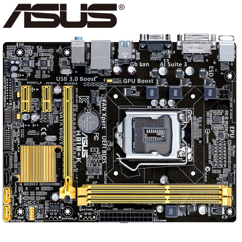 Asus H81M-K Desktop Motherboard H81 Socket LGA 1150 i3 i5 i7 DDR3 16G Micro-ATX UEFI BIOS Original Used Mainboard Hot Sale asus p8b75 m lx desktop motherboard b75 socket lga 1155 i3 i5 i7 ddr3 16g uatx uefi bios original used mainboard on sale
