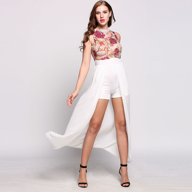 8495a8ee7bc74 Jumpsuits Women Romper Summer Sleeveless Floral Rompers Body Sexy Floral  Print White pants long back playsuit women