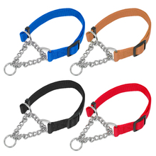 Solid Nylon Martingale Pet Training Collars Half Check Dog Collar 4 Colors