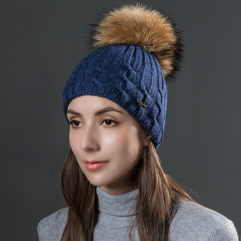 Sole Crowd Winter knitted wool women hats natural raccoon fur pom pom caps female warm hat double layer thick beanies for ladie women winter knitted hats beanies caps colorful raccoon fur ball pom pom warm hats for females fashion casquette touca inverno