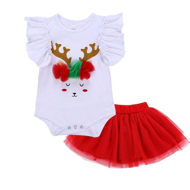 19a8df3d09c3d 2PCs per Set White Red Baby Girl Glitter Reindeer Smile Christmas Outfit  Tutu Skirt for 0 24Months
