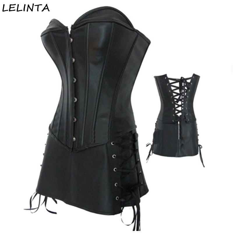 08c48cfc2b LELINTA Plus Size Gothic PVC Faux Leather Corset with Skirt Corselet ...