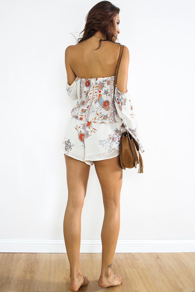 BONGOR LUSS Floral Print Rompers Womens Jumpsuit Summer Women Off Shoulder Sexy Boho Beach Short Playsuit Female Casual Overalls (3)