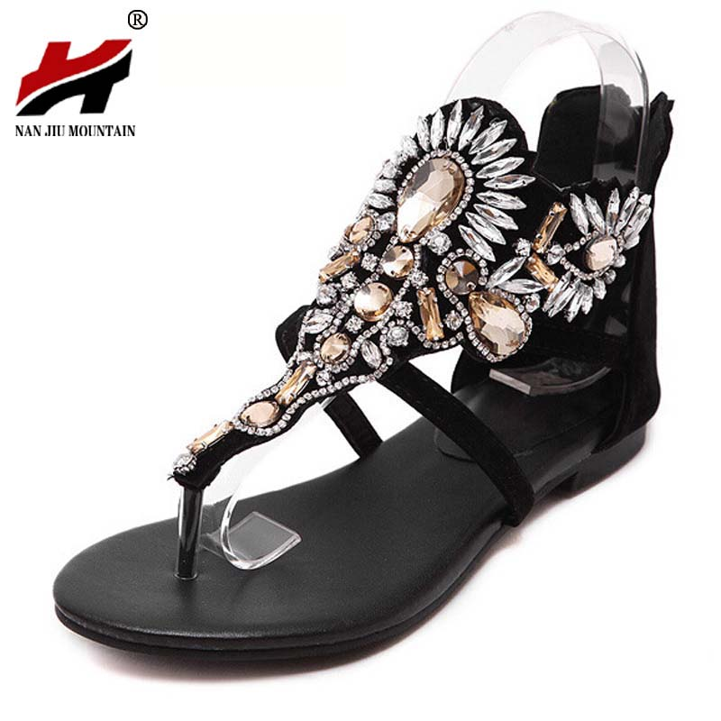 2017 Fashion Crystal Gladiator Sandals Summer Flip Flops Casual Shoes Woman Slip On Flats Rhinestone Women Shoes Size 35-40 2017 summer pearl women slippers velvet sandals flip flops slip on flats woman beach platform women shoes plus size 35 39