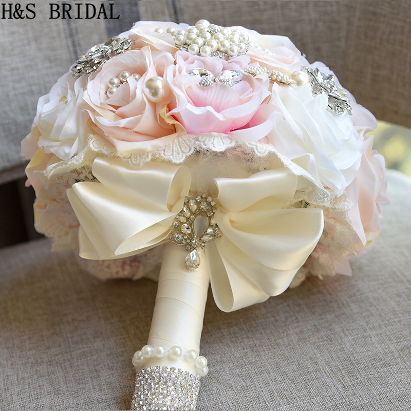 Image 2 - H&S BRIDAL Round Blush Wedding Bouquet Teardrop Butterfly Brooch Bouquet Alternative Cascading Bouquets Crystal Wedding Flowers-in Wedding Bouquets from Weddings & Events