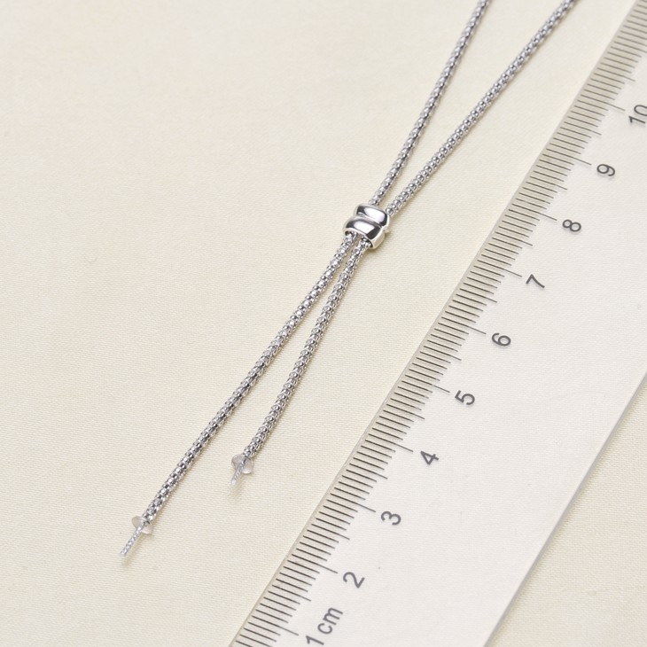 Fashion 925 Sterling Silver Pearl Necklace Chain with Pendant Mountings Necklace Findings Jewelry Parts Fittings Accessories