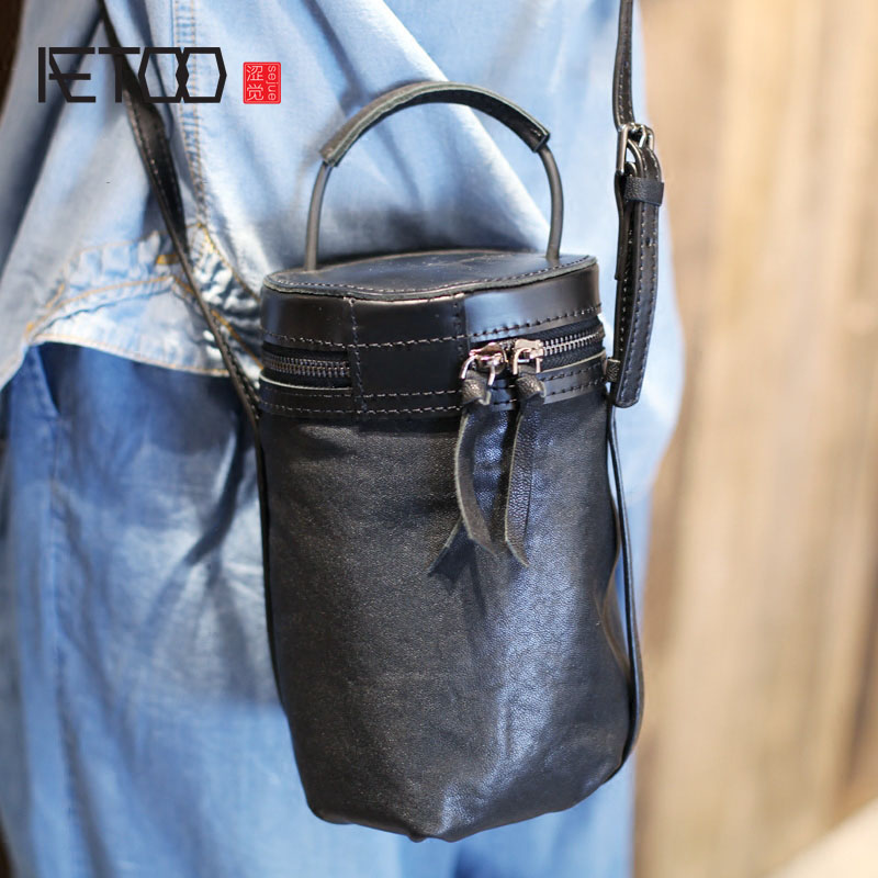 AETOO Black sheepskin diagonal package original designer handbags tide hand retro leather handbag bucket bag shoulder bag