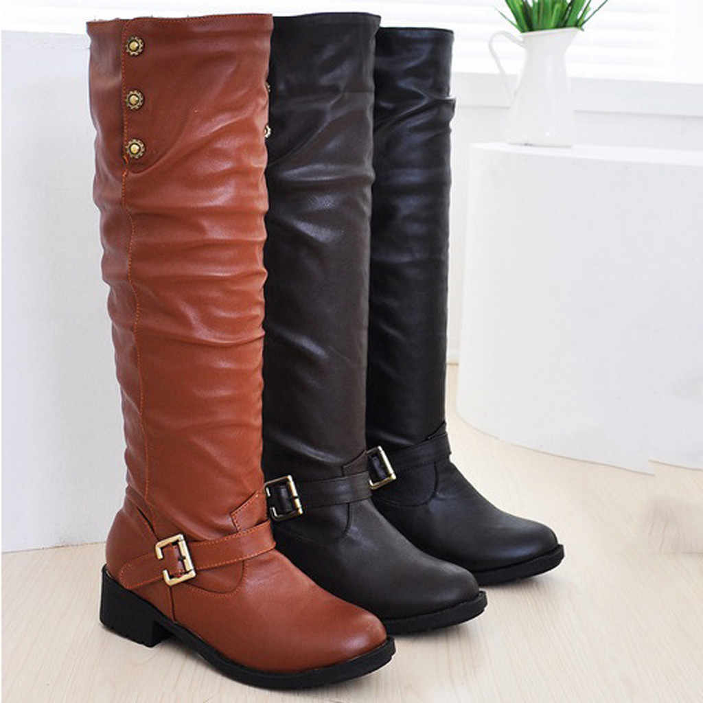 winter shoes women leather over the knee boots black ladies  boots low heel winter boots women waterproof botines mujer 7#3.5