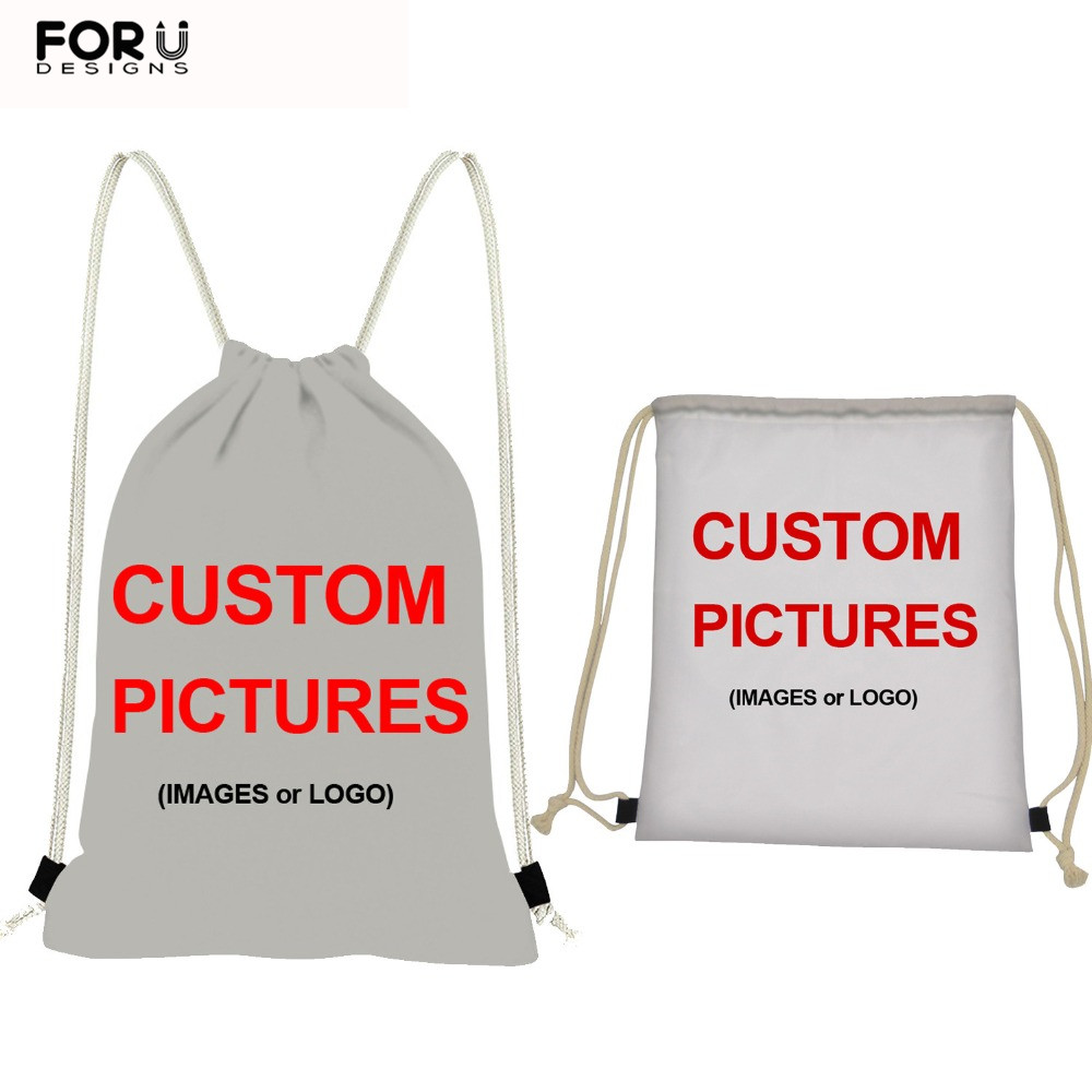 FORUDESIGNS Customize Picture Or Logo Drawstring Bags For Women/Men Small Backpack Casual Ruck Sack Children Cinch Daily Mochila
