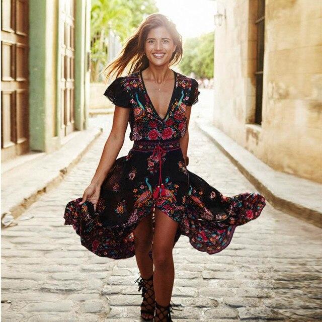 Винтаж летнее платье Для женщин принт цветочный дворец с v-образным вырезом Повседневное Boho полиэстер длинные Вечеринка пляжное платье с поясом