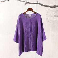 Plus Size Women's Shirt 2018 Summer Style Cotton Linen Womens Tops And Blouses Oversized Solid White Purple Loose Causal Blusas