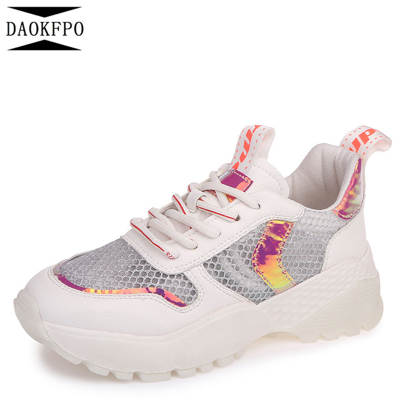 DAOKFPO New Womens Shoes Casual Sneakers Fashion Shoes Flats Height Increasing Women Breathable Air Mesh Wedges Shoe NVF-13