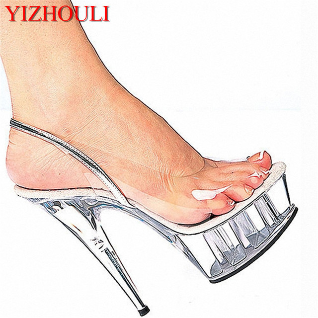 Promotion 15cm high-heeled shoes fashion crystal shoes the women s shoes  Clear 6 Inch Stiletto Heel Sandals Exotic Dancer shoes 86bef801d938