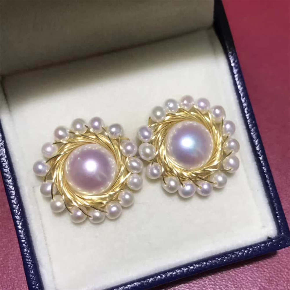 hand made fine jewelry factory wholesale fashionable 14k gold wrap natural white pearl gemstone stud earring