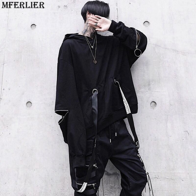 MFERLIER printemps hommes Hip-Hop corée style japonais Haute Rue de danse sweat sweat à capuche Hippie de mode Sweat-Shirt Noir cool