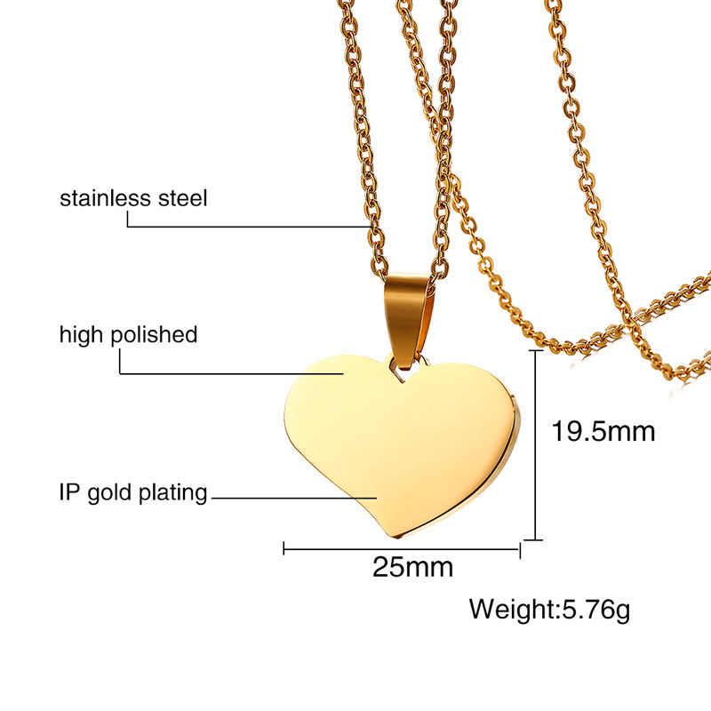 """Vnox Бесплатная гравировка сердце подвеска «сделай сам» ожерелье для женщин золотой цвет Индивидуальные Имя, дата DIY ювелирные изделия 20 """"звено цепи"""