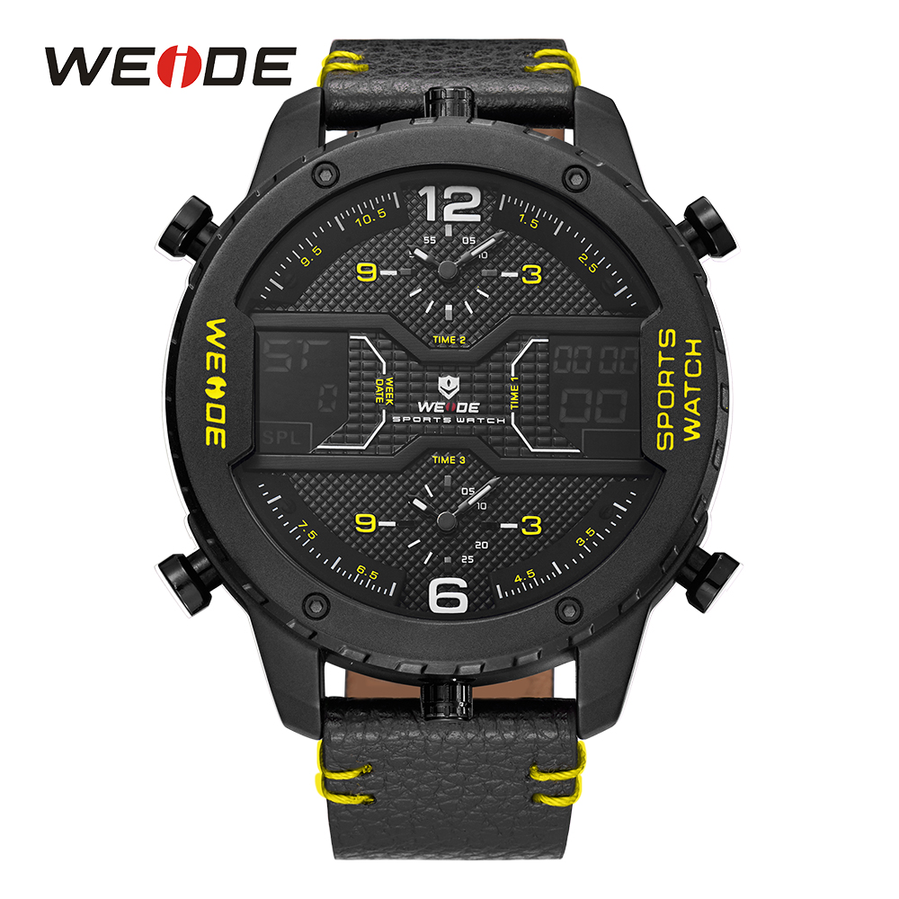 WEIDE Men Sport Watch Military Analog Sport Digital Calendar Date Day Quartz Leather Strap Water Resistant Wristwatches Clock цена
