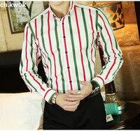 CH.KWOK Striped Men Shirts Long Sleeve Cotton Mens Dress Shirts Formal Office Business Men Casual Shirt Slim Fit Camisas