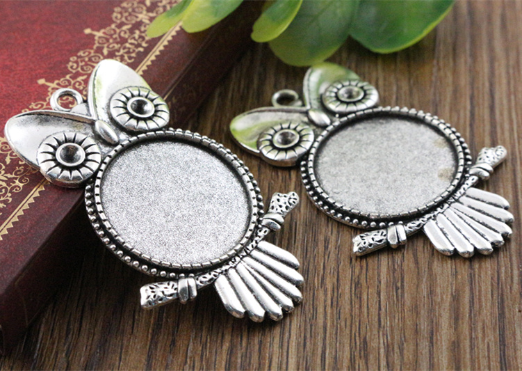 New Fashion  3pcs 25mm Inner Size Antique Silver Owl Cabochon Base Setting Charms  Pendant (A4-30)