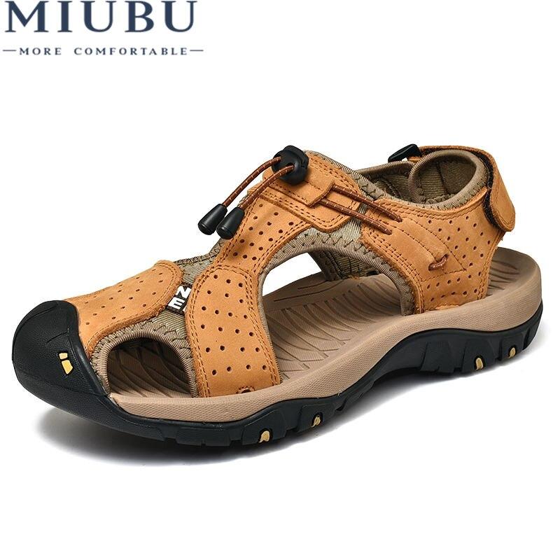 MIUBU Hot Sale Fashion Summer Leisure Beach Men Shoes High Quality Leather Sandals The Big Yards Mens Sandals