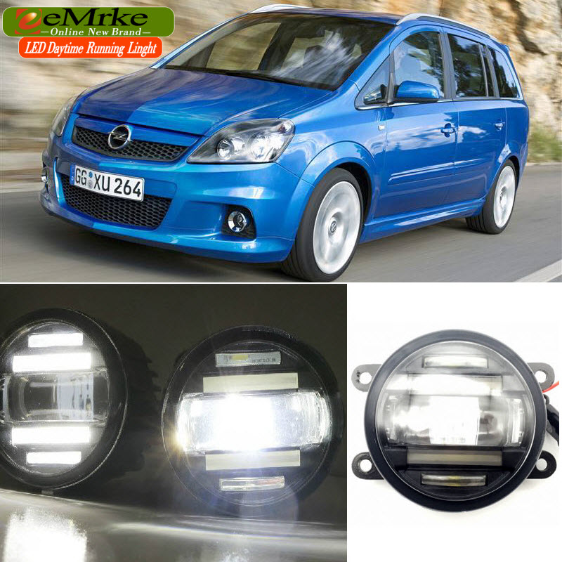 eeMrke Car Styling For Opel Zafira OPC 2005-2011 2 in 1 LED Fog Light Lamp DRL With Lens Daytime Running Lights for opel astra h gtc 2005 15 h11 wiring harness sockets wire connector switch 2 fog lights drl front bumper 5d lens led lamp