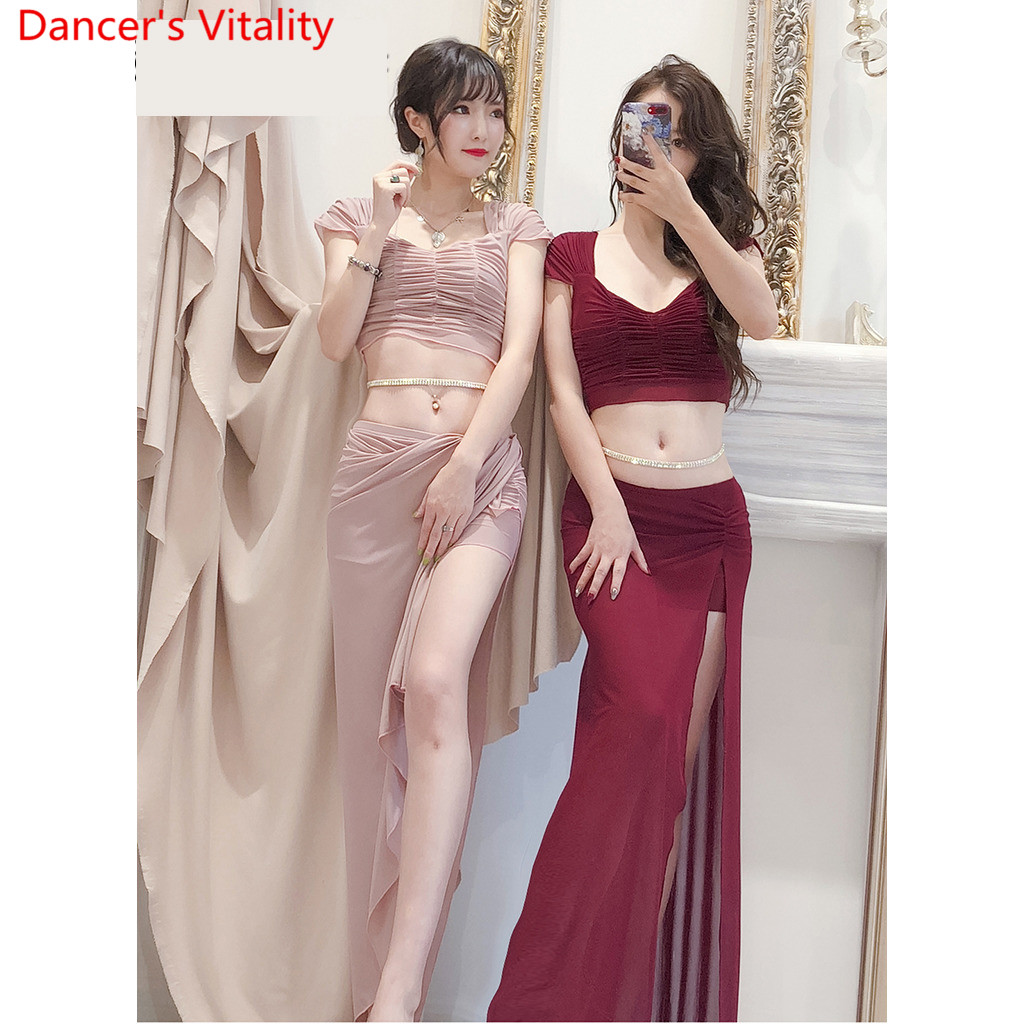 Belly Dance 2019 Training Clothes New Top Skirt Set Sexy Yarn Long Skirt Oriental Beginner Dancer Wear Outfits Summer Suit