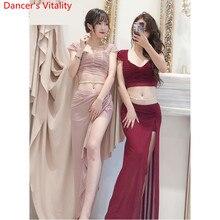 Danza del ventre 2019 Vestiti di Formazione Nuovo Set Top Gonna Sexy Lane E Filati Pannello Esterno Lungo Orientale Principiante Ballerino Indossare Abiti Vestito di Estate