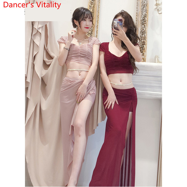 Múa Bụng 2019 Quần Áo Tập Cao Mới Váy Bộ Gợi Cảm Sợi Dài Váy Phương Đông Sơ Khai Vũ Công Mặc Trang Phục Mùa Hè Phù Hợp Với