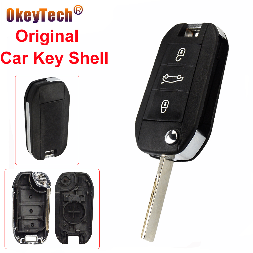 OkeyTech 3 Buttons Original Car <font><b>Key</b></font> Shell Replacement Remote <font><b>Key</b></font> Case Cover Fob For <font><b>Peugeot</b></font> <font><b>208</b></font> 308 508 3008 5008 Uncut Blade image