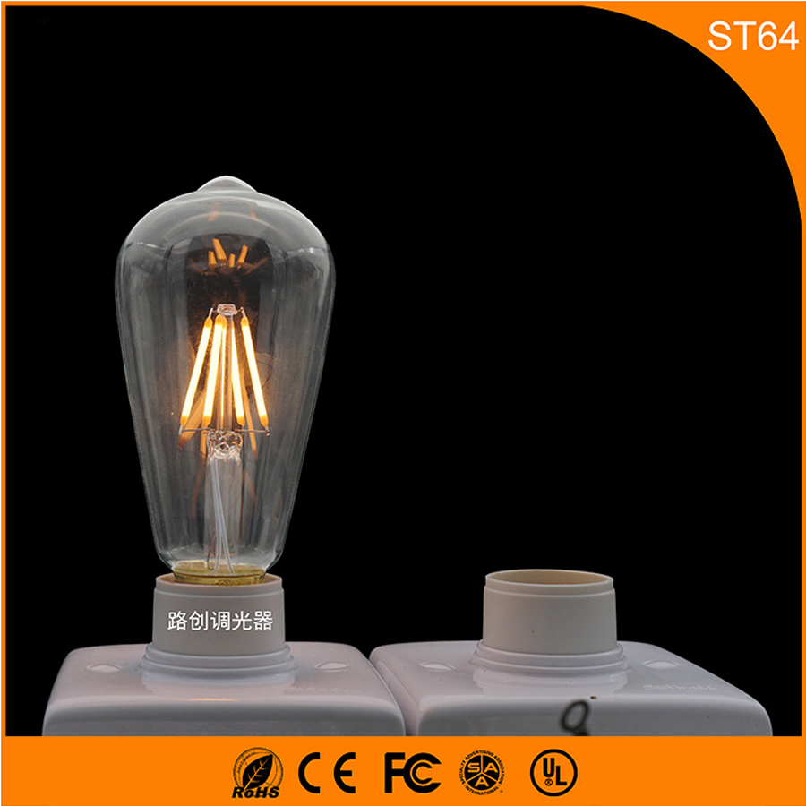 50PCS E27 B22 Retro Vintage Edison LED Bulb ,ST64 3W Led Filament Glass Light Lamp, Warm White Energy Saving Lamps Light AC220V 5pcs e27 led bulb 2w 4w 6w vintage cold white warm white edison lamp g45 led filament decorative bulb ac 220v 240v