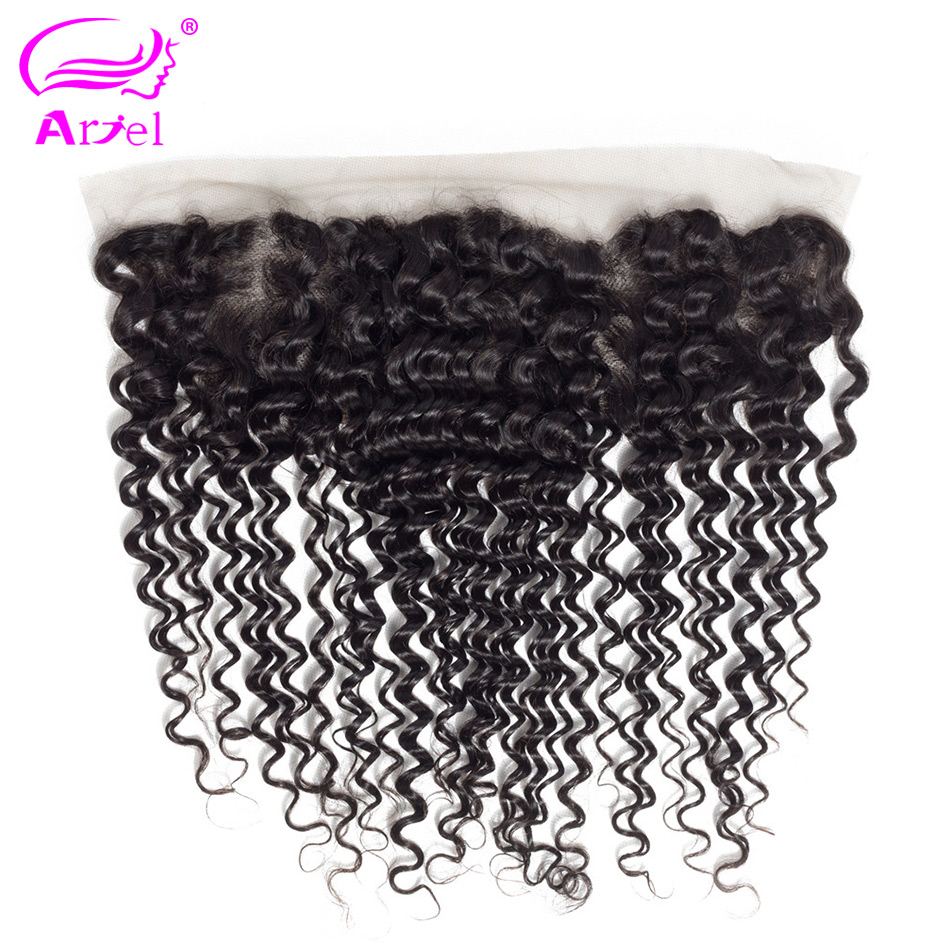 Ariel Frontal-Closure Human-Hair Deep-Wave Brazilian Lace Free-Part with 100%Remy 8-20inch