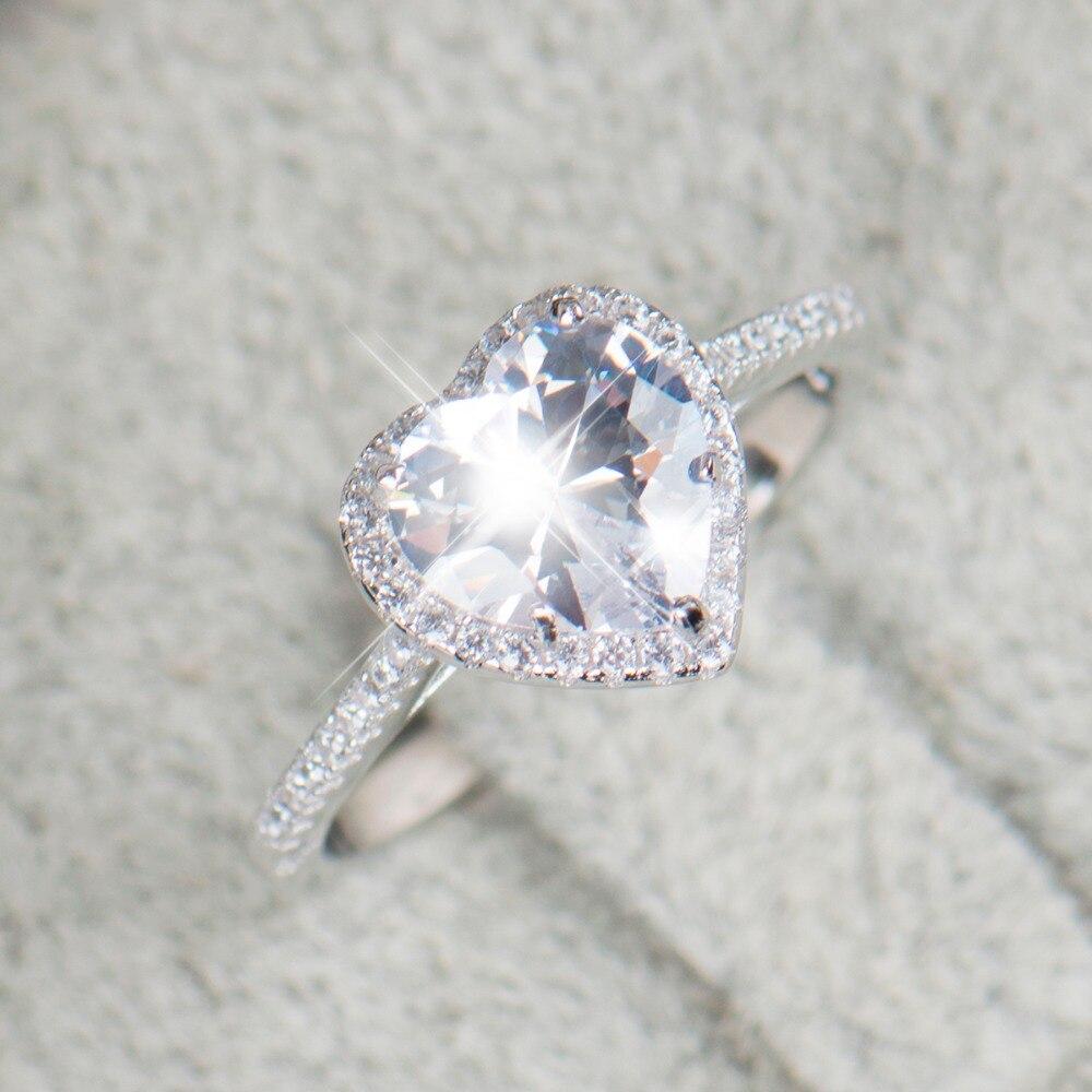 Heart shape 925 Sterling Silver jewelry Rings