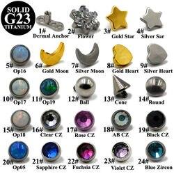1 ADET Dövme Dermal Piercing Düz kübik zirkon taşı Mikro Titanyum Dermal Çapa Kristal Top Cilt Dalgıç Yıldız Vücut Dermal Piercing Takı