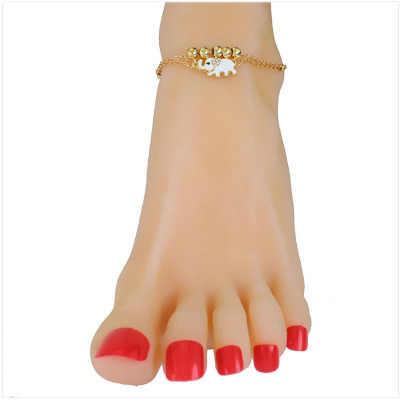 エスニックスタイル象ビーズ合金チェーンビーチアンクレット油滴手作りビーズ女性の足のジュエリー