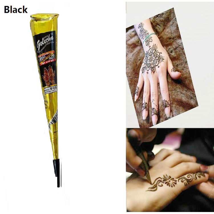 buy 1pcs black henna tattoo paste face