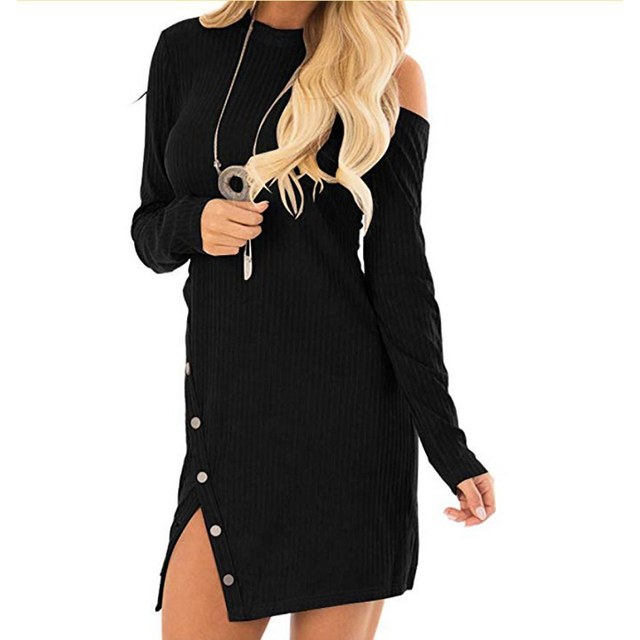 f1bcb30319b US $13.4 35% OFF|Sexy V Back One Shoulder Knitted Dress 2019 Autumn Long  Sleeves Irregular Button Dress SJ861E-in Dresses from Women's Clothing on  ...