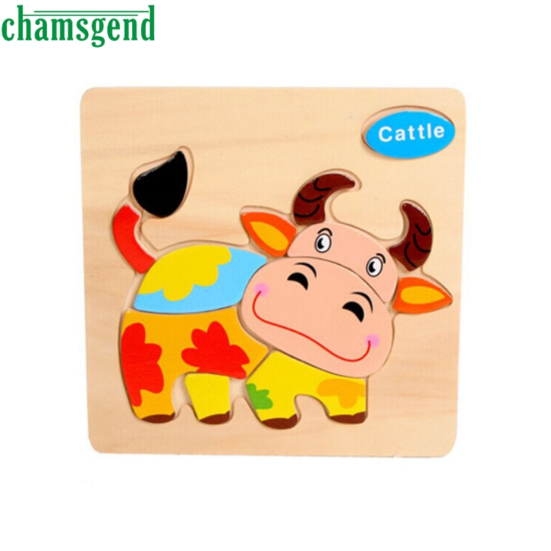 High Quality Wooden Cattle Puzzle Educational Developmental Baby Kids Training font b Toy b font Aug24