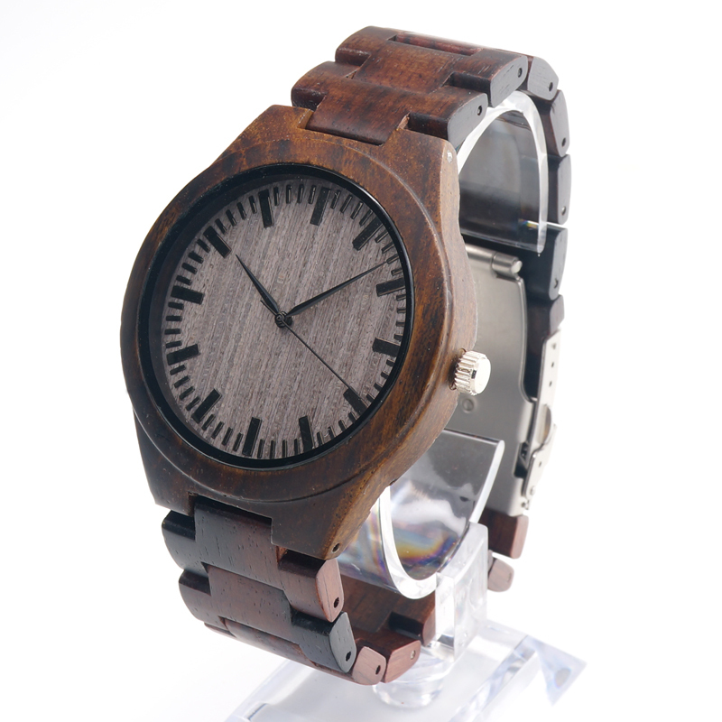 BOBO BIRD 2017 Luxury Men's Watches All Black Ebony Wooden Wristwatches Wooden Band Bamboo Watch for Men relogio masculino