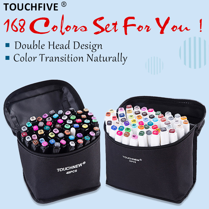TouchFIVE 20/30/40/60/80 Color Markers Manga Drawing Markers Pen Alcohol Based Sketch Oily Dual Brush Pen Art Supplies