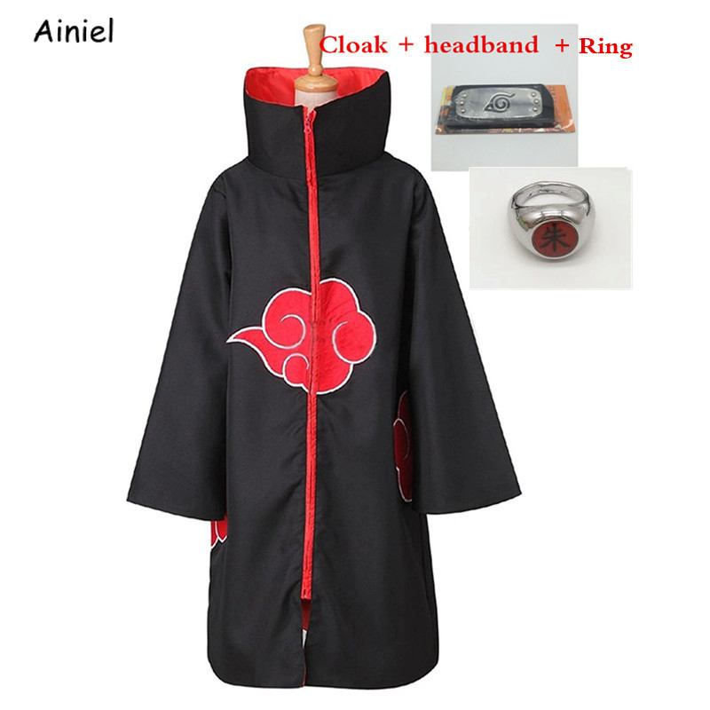 Anime Figure Naruto Cosplay Costumes Cloak Robe Coat Headband Halloween Akatsuki Uchiha Itachi Clothes Men Adult Cape Mantle