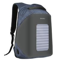 Men S Solar Powered USB Charging Backpack Anti Theft Waterproof Shakeproof Travel Backpacks 16 Inch Laptop