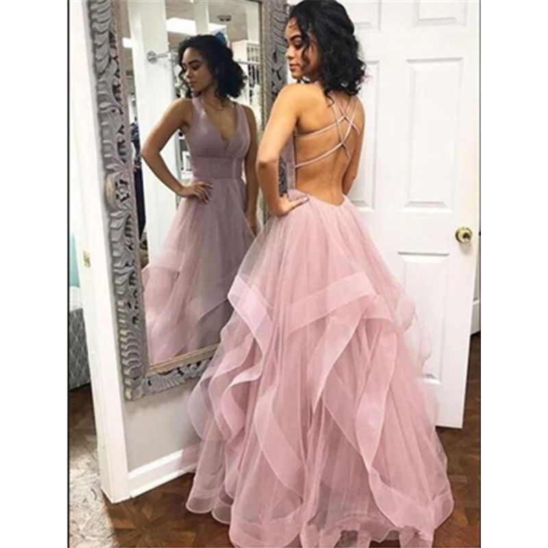 Blush Pink Tulle   Prom     Dresses   Sweet 16 Criss Cross Backless Ruffles Sexy V-neck Cocktail Party Gowns Vestido Custom Made
