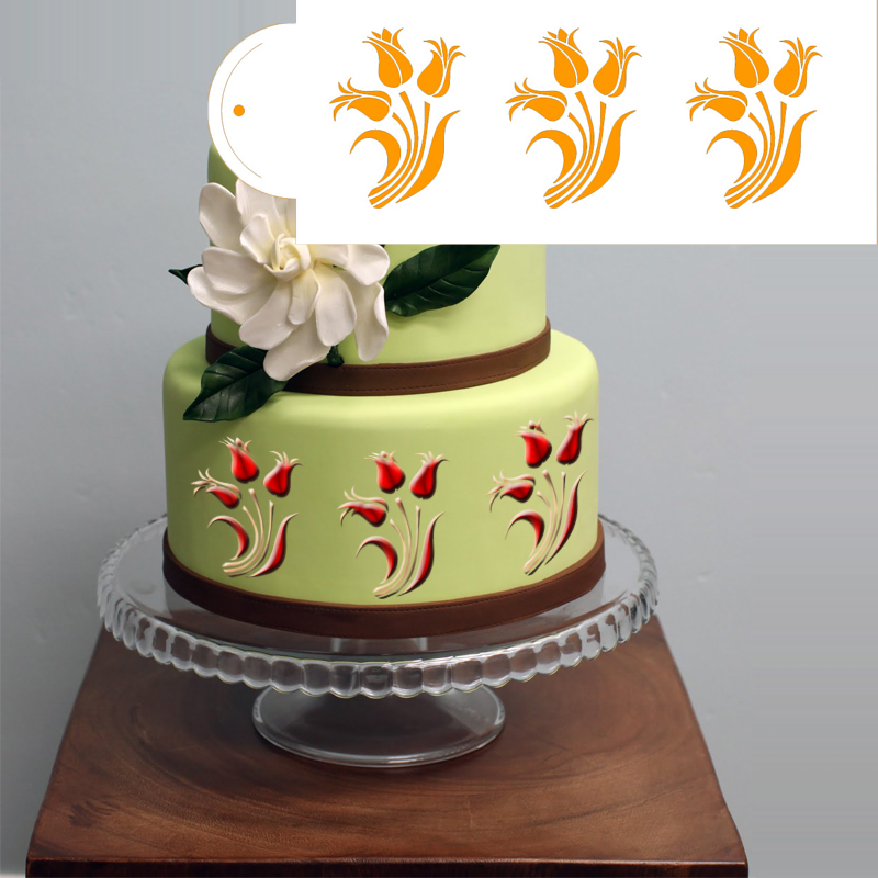 wedding cake stencils decorating tulip template flower design cake side border stencil 25702