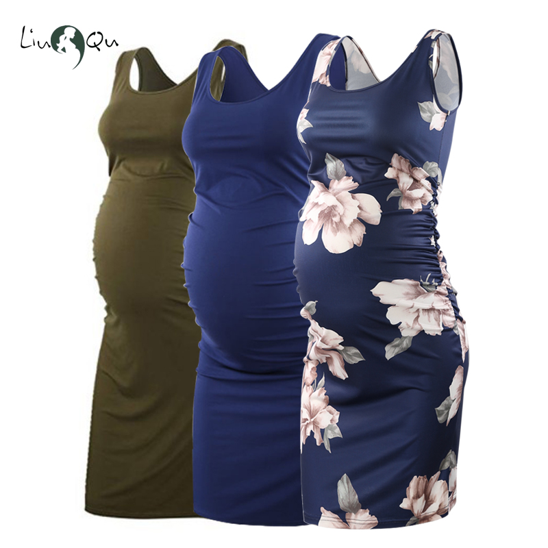 Pack Of 3pcs Maternity Women Dress Pregnancy Dresses Mama Clothes Flattering Side Ruching Scoop Neck Pregnant Womens Clothing(China)