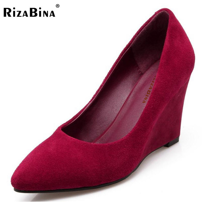 RizaBina Women Genuine Leather High Wedges Shoes Women Pointed Toe Solid Color Pumps Office Lady Party Women Footwear Size 34-39 women s geniune leather high heels shoes women pointed toe pure color high heeled pumps office lady sexy footwear size 33 40