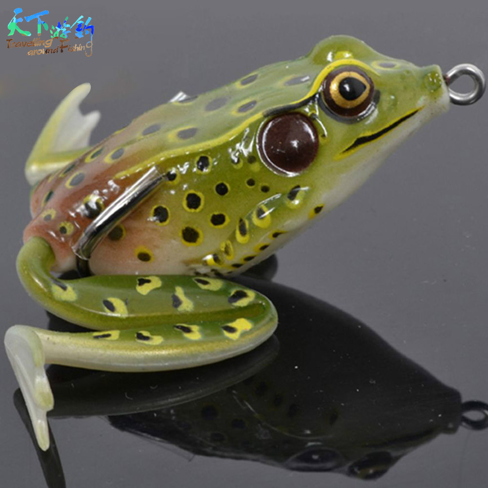 Free shipping 2pcs soft bait frog lures 55mm double for Frogs for fishing