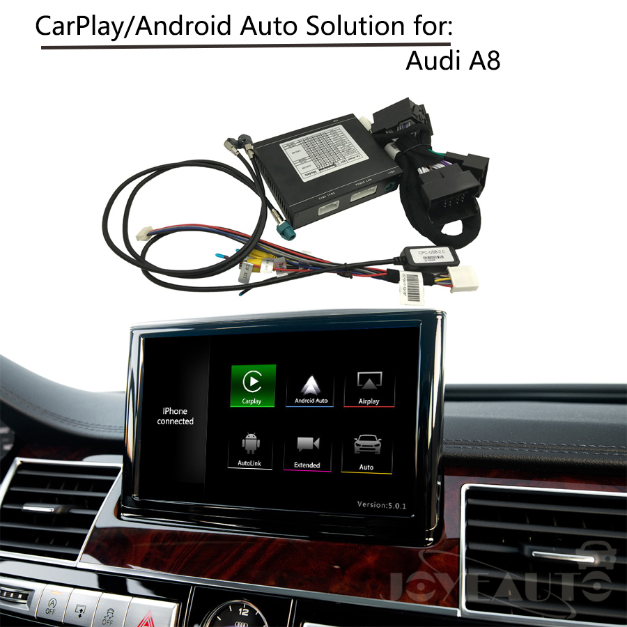 CarPlay Interface Adaptateur Aftermarket OEM Apple Carplay Android Auto IOS Airplay D'adaptation de Mise À Niveau A8 MMI pour Audi AUX Activé